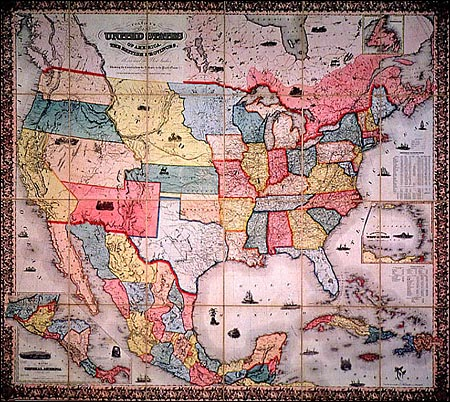 Map of the United States & Mexico as the two countries appeared following the war. (Special Collections, Texas University at Arlington Library)