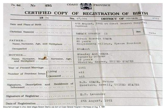Globe Publishes Obama\'s African Birth Certificate - Stormfront