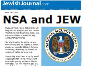 Jewish Supremacists Support NSA Spying, Says Jewish Journal