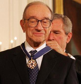 President George W. Bush presents the Presidential Medal of Freedom to Alan Greenspan, on November 9, 2005.