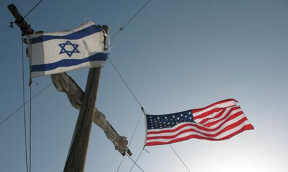 Israeli and American flags