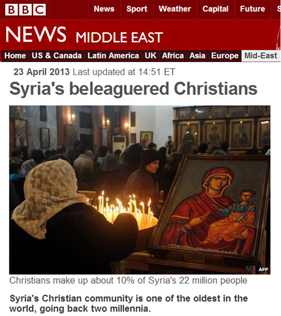 The war in Syria has resulted in the persecution of Christians by groups paid for, and armed by the US government.