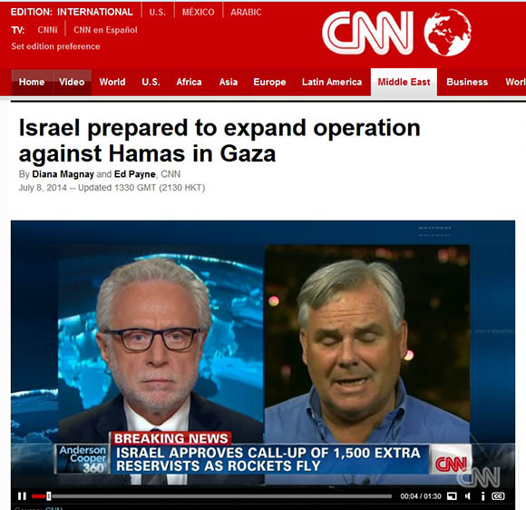 "CNN's ""coverage"" of the latest Zio-terrorist attack on Gaza: carefully moderated by the open Zio-agent and former full-time employee of AIPAC, Wolf Blitzer."