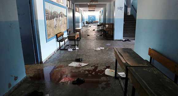 At least 15 people were killed when Israeli fire hit a UN-run school in Gaza, while three more people were shot dead by Israeli soldiers at a demonstration in the occupied West Bank. Emergency services spokesman Ashraf al-Qudra said around 200 people were injured in the strike on the school run by the UN agency for Palestinian refugees (UNRWA) in the northern town of Beit Hanun. An AFP journalist at a nearby morgue said the bodies arriving from the scene included a mother and her one-year-old baby. UN Secretary General said Ban Ki-Moon said UN staff were among the dead and injured in the shelling of the school.