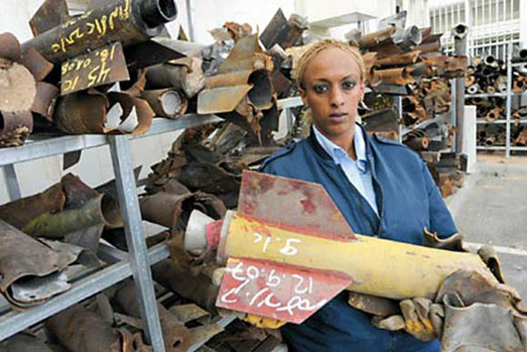 The home-made nature of the Qassam rockets is obvious from this file picture of a warehouse where the used--and useless--rocket casings are stored.