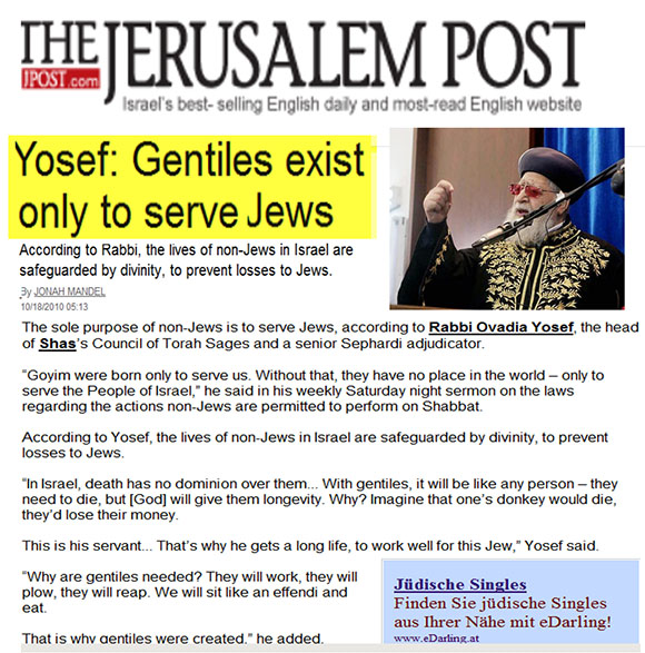 Gentiles exist only to serve Jews1