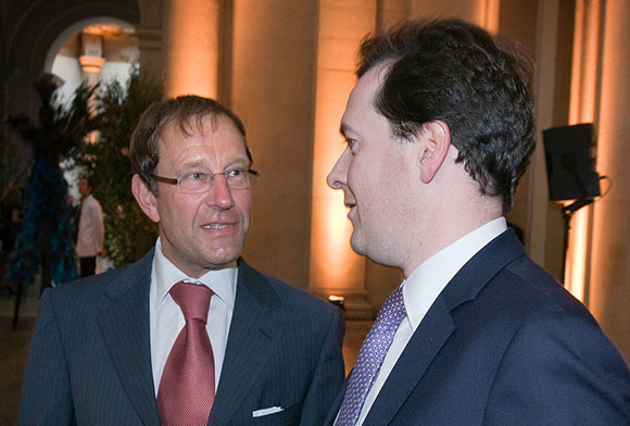 Richard Desmond, left, with good friend George Osborne (right), the current UK Chancellor of the Exchequer.