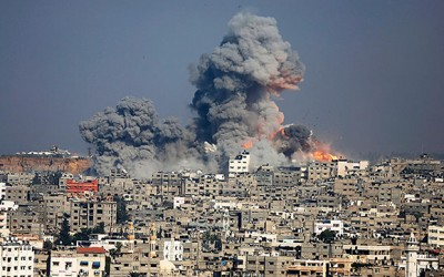 Gaza's only electrical power generation plant is destroyed by Zionist bombing, August 2014.