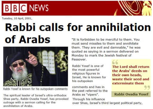 rabbi Yosef extermination of arabs small