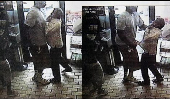 A still from CCTV footage of Michael Brown strong-arming a store-owner just before the shooting incident.