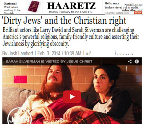 "One of the leading newspapers of Israel, Haaretz, boasting of the leading Jewish role in destroying America's ""family friendly culture."" It also proudly proclaims"" and that these Jews are ""asserting their Jewishness by glorifying obscenity."" Any Gentile who said that Jews assert their Jewishness by glorifying obscenity would be branded an ""anti-Semite."""
