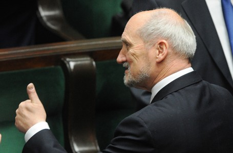 Candidate for the new defense minister Antoni Macierewicz gives his thumb up before the opening of the first session of the new parliament in Warsaw, Poland, Thursday, Nov. 12, 2015. (AP Photo/Alik Keplicz)