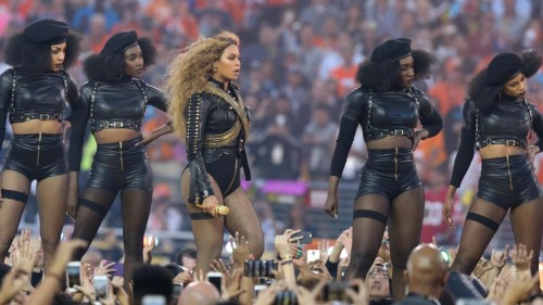 Feb 7, 2016; Santa Clara, CA, USA; Recording artist Beyonce performs during halftime in Super Bowl 50 at Levi's Stadium. Mandatory Credit: Matthew Emmons-USA TODAY Sports - RTX25WFM