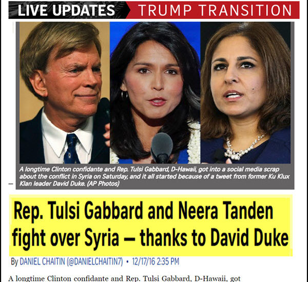 Rep. Tulsi Gabbard May be Liberal – But She Knows the Zio-made Syria War is Evil!