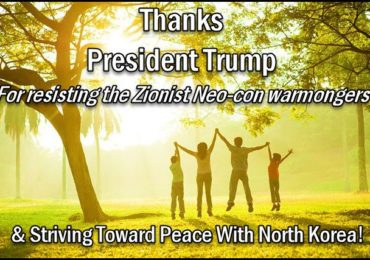 Duke Tweet: Thank You Mr. President for resisting the insane Zionist Warmongers & striving toward peace with North Korea!