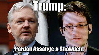 President Trump: I urge you to pardon two heroes of freedom of speech: Julian Assange and Edward Snowden